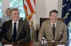 Ronald Reagan & Charlton Heston in 1981. Both were diagnosed with Alzheimer's Disease.